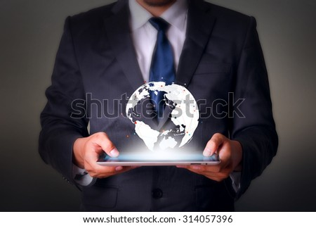 World map  with tablet computer business technology