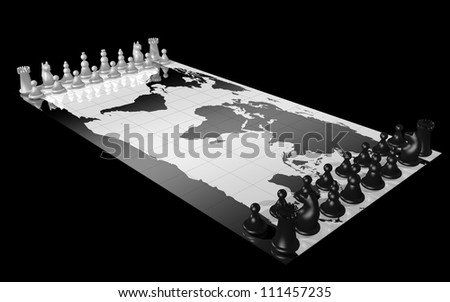 World map with white and black chess piece, illustrating the concepts of world domination, war, global competition