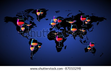World map with wines. Raster version. Vector version is also available. - stock photo