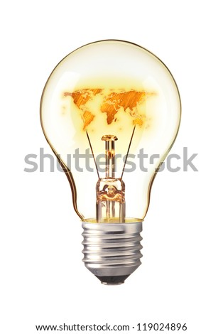 World Map,World atlas in tungsten light bulb - stock photo