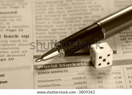 World markets report, pen and a dice, in sepia mode