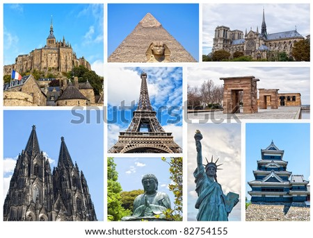 World Monuments Collage - stock photo