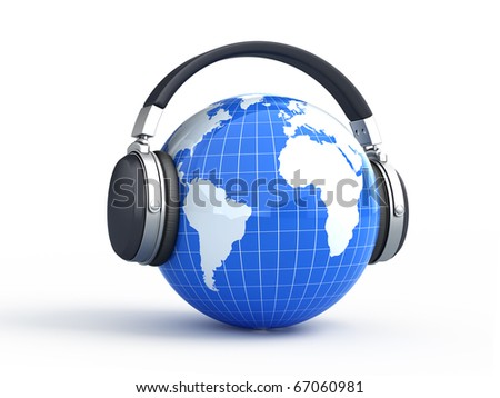 World music concept - Earth with headphones