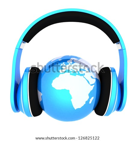 World music 3D render of planet Earth with headphones - stock photo