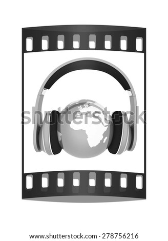 World music 3D render of planet Earth with headphones  on a white background. The film strip - stock photo