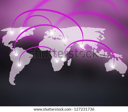 World Network Violet Background - stock photo
