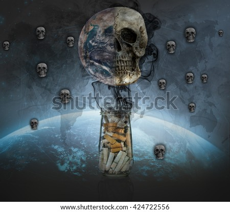 World no tobacco day, Cigarette butt in bottle with smoke Burning the earth to be the Skull, Elements of this image furnished by NASA
