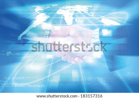world of connections technology and communication, business handshake between man and woman colleagues