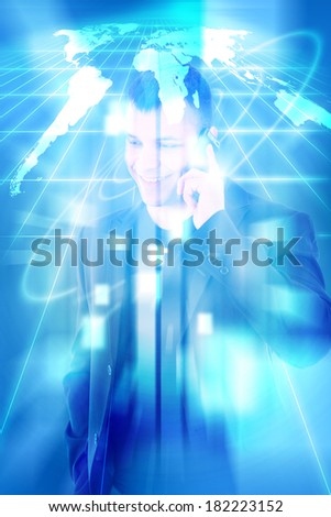 world of connections technology and communication, young casual man in a suit talking over mobile and smiling