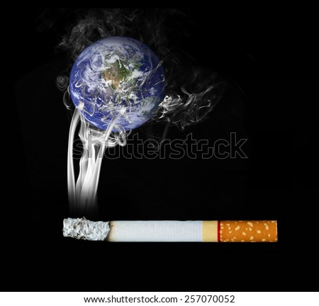 World of people smoke cigarettes. Elements of this image furnished by NASA - stock photo