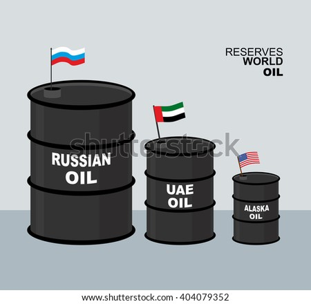 World oil reserves in world. Barrel oil. Elements for business infographic. Large barrel of oil and flag of Russia. Oil and  USA. flag. Declension and UAE flag. - stock photo