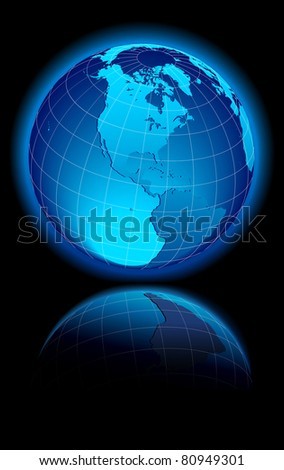 WORLD on a black background Canada, USA and South America - Raster Version - stock photo