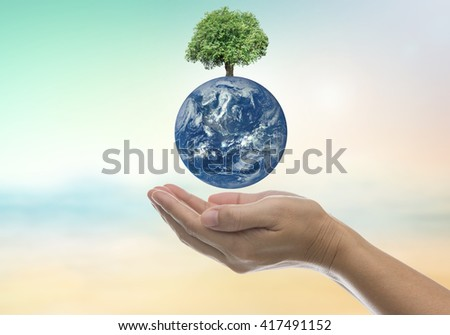 World on a human hand on a background blur sea and sky with light and bokeh. - Concept help preserve the world together. Elements of this image furnished by NASA. - stock photo