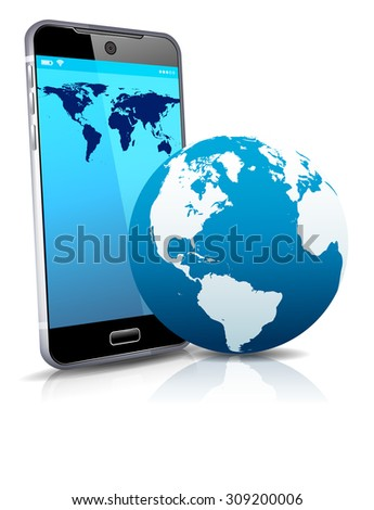 World on your Phone Cell Smart Mobile 3D - Raster Version - stock photo
