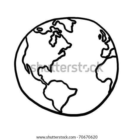 World outline illustration, outline drawing of planet earth - stock photo