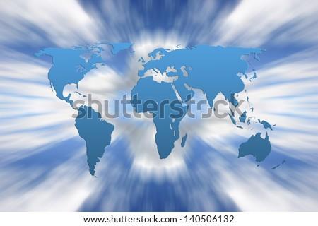 World outline map overlaid onto zoomed sky - stock photo
