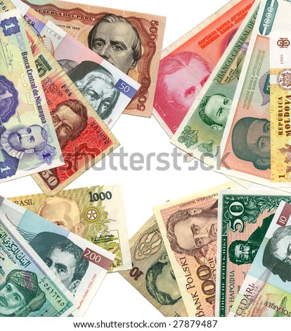 World paper banknotes background. Playing poker.