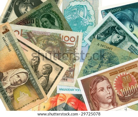 World paper banknotes background. Playing poker. - stock photo