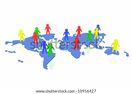 world partnership 3d illustration isolated in white background