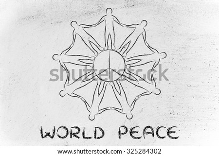World Peace People Holding Hands Around Stock Illustration 325284302