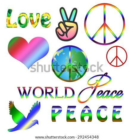 World Peace Symbol Peace Sign Over Stock Illustration 292454348