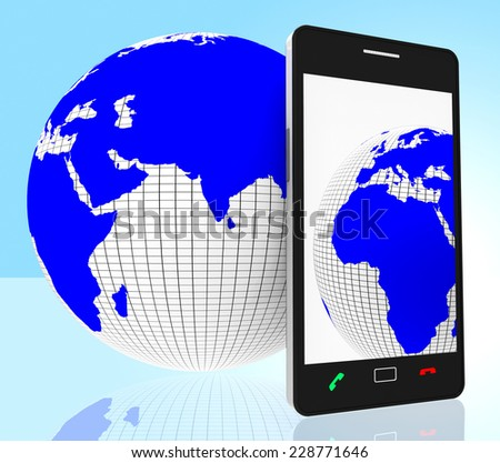 World Phone Representing Web Site And Earth