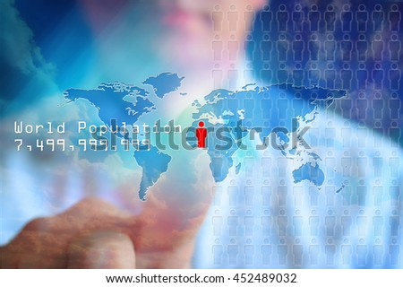 World population data. World map with people icon and symbolic numbers of world population. Blue background, concept world population map. Growth population concept.