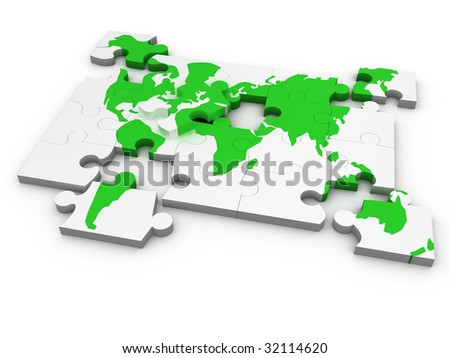 world puzzles - stock photo