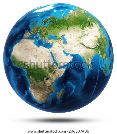 World real mountains relief. Elements of this image furnished by NASA - stock photo