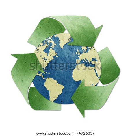 world recycled paper stick on white background . Data source: NASA - stock photo