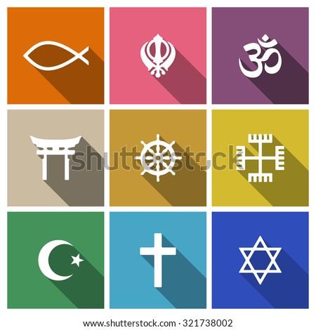 World religion symbols flat set with christian, Jewish, Islam etc - stock photo