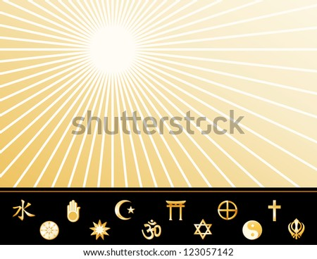 World Religions Poster.  Gold symbols: Confucianism, Bahai, Buddhism, Jain, Islam, Hindu, Shinto, Judaism, Native Spirituality, Tao, Christian, Sikh. Copy space on star burst background. - stock photo