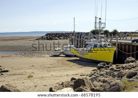 World's lowest tide: up to 42 feet in a 12 hour span - Bay of Fundy, Canada. - stock photo