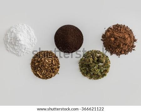 World's most popular addictions - Coffee, Chocolate, Cocaine, Cannabis, Tobacco - stock photo