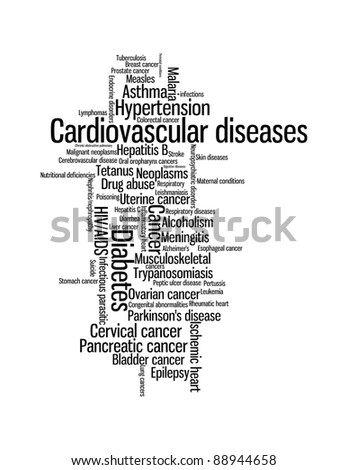 World sickness and diseases info-text graphics and arrangement word clouds concept - stock photo