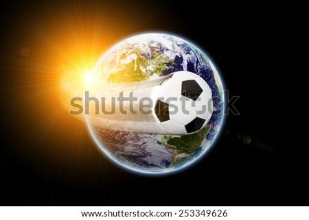 World soccer - earth texture by NASA.gov - stock photo