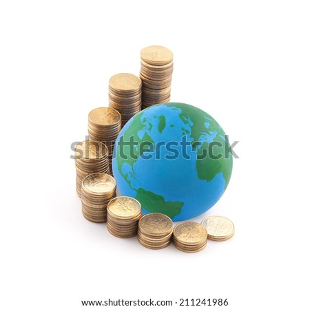 World standing on money - stock photo