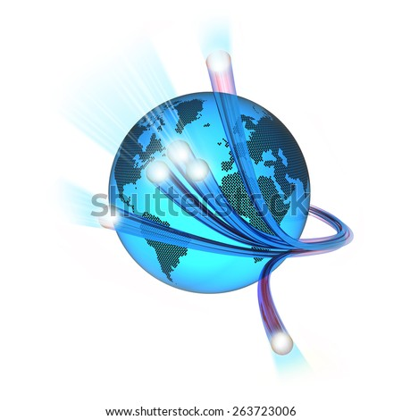 World surrounded by the optical fiber, white background - stock photo