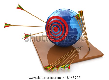 World target, red arrow in the bull's eye for the design of information related to the world and the objectives. 3d illustration - stock photo