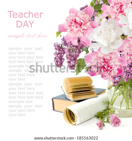 World Teacher's Day (flowers bunch, books,map and globe isolated on white background with sample text ) - stock photo