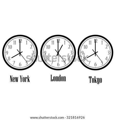 World time clocks New York, London and Tokyo. Clock on wall raster isolated - stock photo