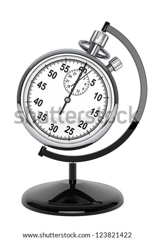World time concept. Stopwatch as globe on a white background - stock photo
