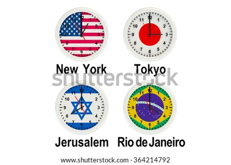 World Time Zone isolated on the white background  - stock photo