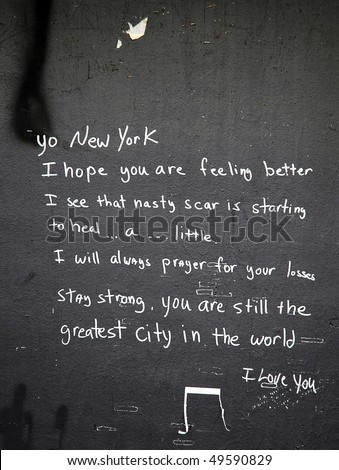 World Trade Center, Ground Zero site graffiti - stock photo
