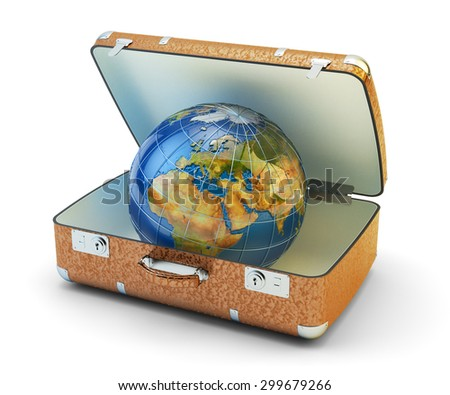 World travel, journey, vacation and worldwide tourism concept, earth globe in leather brown suitcase isolated on white background. Source of Globe texture: http://visibleearth.nasa.gov - stock photo