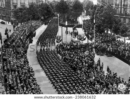 World War I, American troops marching along the re-named Avenue de President Wilson in Paris, July 4, 1918, U.S. Signal Corps photograph - stock photo