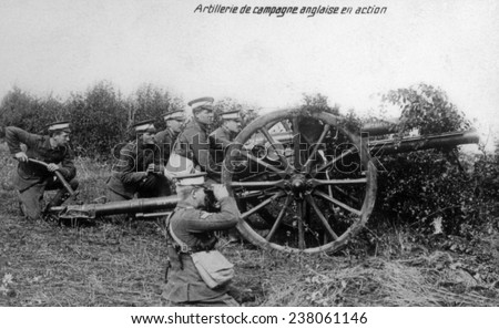 World War I, English field artillery in action in France, ca. 1914