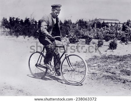 World War I, handicapped German soldier on bicycle, ca 1914-1918.