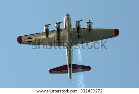 World War II era heavy bomber seen from below