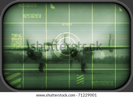 World War II era US bomber pictured on an old tv screen - stock photo